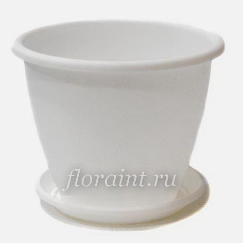 Горшок Верона 21*16,5 белый с поддоном купить - Пластиковые горшки для цветов. Фото горшков, цены на большие и маленькие цветочн