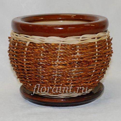 Керамический горшок плетеный